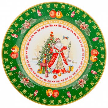 Тарелка закусочная lefard с новым годом! дед мороз 21 см зеленая