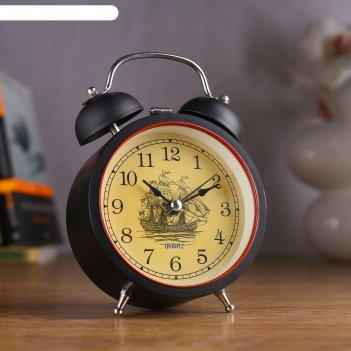 Будильник ретро, чёрный матовый, с подсветкой, 14х9 см, циферблат микс, пл