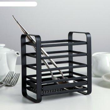 Сушилка для столовых приборов лофт 14,48,2х14,5 см, цвет черный