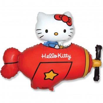 Шар фольгированный 36 фигура hello kitty. котенок в самолетекрасный, в упа