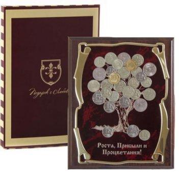 Панно подарочное денежное дерево роста,прибыли и процветания в картонной к