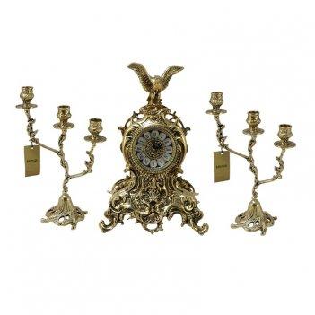Часы антикварные каминные с канделябрами цезарь