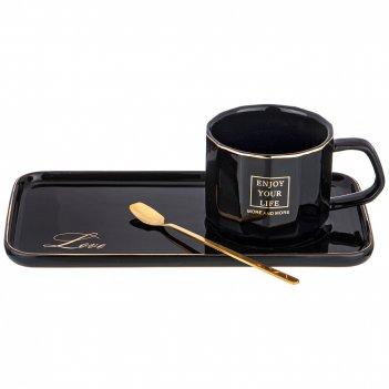 Чайный набор break time на 1пер.  3пр.  220мл, черный (кор=36наб.)