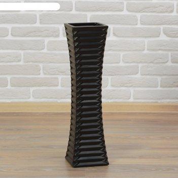 Ваза керамика напольная день ночь 60 см полосы прямая черная