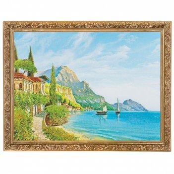 Картина лазурный берег багет гипс №4 (30х40 см) 22и