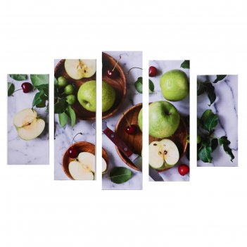 Модульная картина яблоки (2-23х52; 2-24х70; 1-24х80) 120х80см