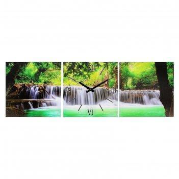 Часы-картина настенные прямоугольные «водопад в джунглях», 35 x 105 см