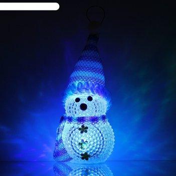 Игрушка световая снеговик, 8х5 см, синий, батарейки в комплекте
