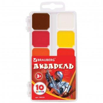 Акварель медовая 10 цветов, пластиковая коробка, без кисти