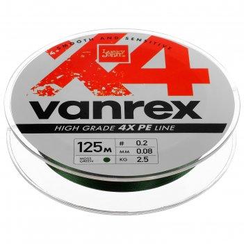 Леска  плетёная lucky john vanrex х4 braid moss green 125 м, 0,08 мм