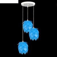 Люстра-подвес шишка, 3 лампы, голубой