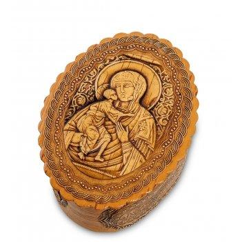 Bst-110/ 1 шкатулка пресвятая богородица владимирская (береста)