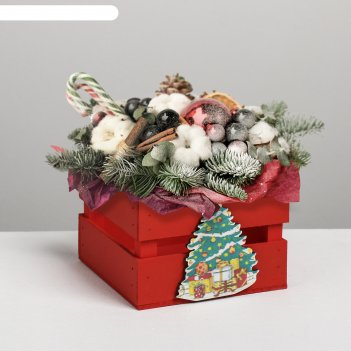 Ящик реечный с декором ёлка, красный, 13 х 13 х 9 см