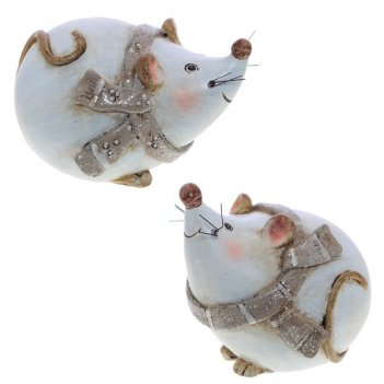 Фигурка декоративная мышка, 9х9х7 см, 2 в.