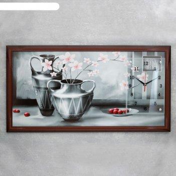 Часы-картина настенные, серия: цветы, серые вазы, 50х100  см, микс