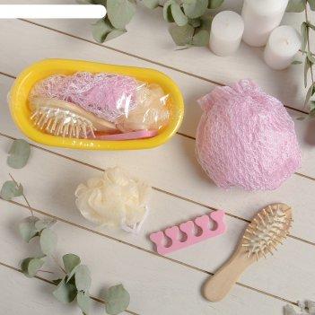 Набор банный, 4 предмета: расчёска, мочалка, разделитель для педикюра, шап