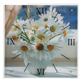 Часы настенные, серия: цветы, ромашки, 50х50  см, микс