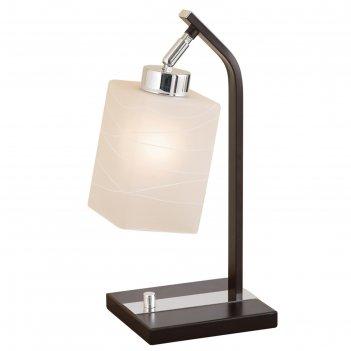 Настольная лампа маркус 1x75вт e27 хром, венге 19,5x15,5x38см