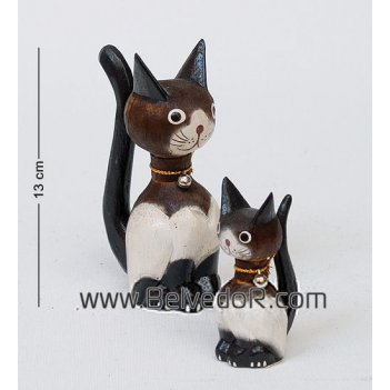 В1-0426 статуэтка кошка коричневая с котенком (15,10 см.), набор 2 шт.