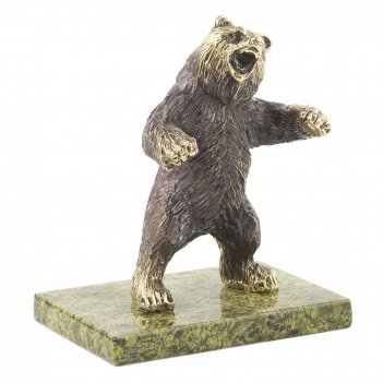 Статуэтка медведь бронза змеевик 85х60х100 мм 550 гр.