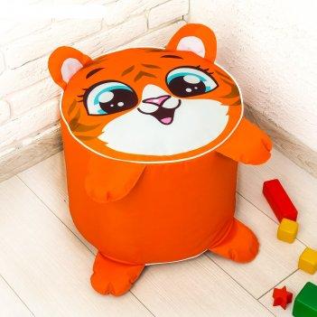 Игрушка-пуфик «тигр», мягкая, 40 x 40 см, цвет оранжевый