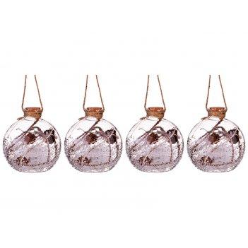 Декоративное изделие шар зимний лес с подсветкой диаметр=10 см (мал=4 шт./