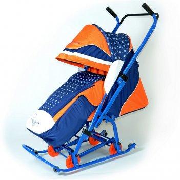 "0913-р14 санки-коляска скользяшки ""мозаика"" синий-оранжевый-бе"