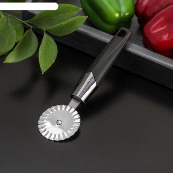 Нож для пиццы и теста «хром», ребристый, 20 см, цвет чёрный