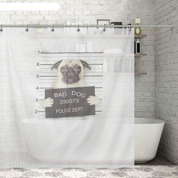 Штора для ванной 200х180 см плохой пёс, полиэстер