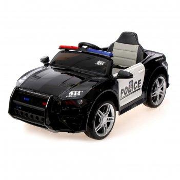 Электромобиль police, eva колеса, кожаное сидение, цвет черный глянец
