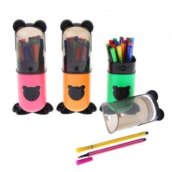 Фломастеры, 18 цветов, в пластиковом тубусе,вентилируемый колпачок, «панда