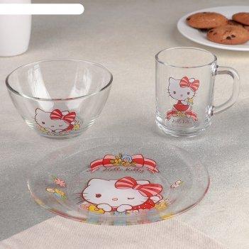 Набор посуды детский 3 предметар hello kitty