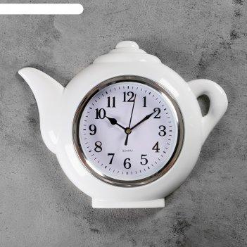 Часы настенные чайник, хром, арабские цифры, 30*23см.