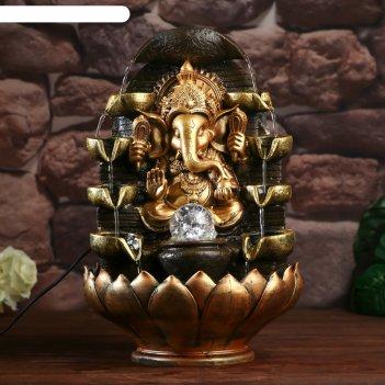 Фонтан настольный от сети, подсветка ганеша в храме бронза 40х25х25 см