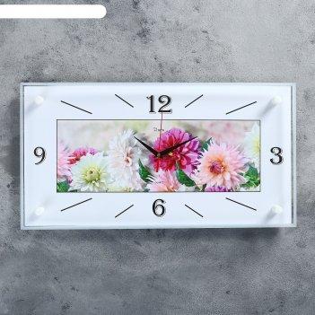 Часы настенные, серия: цветы, астры, 26х52 см
