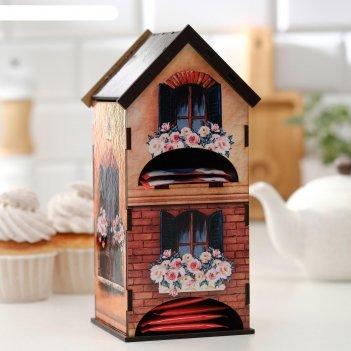 Чайный домик двойной дом с цветами 9,6х22 см