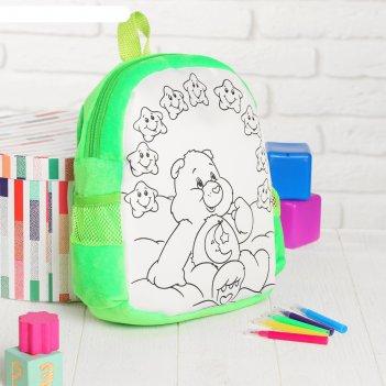Рюкзак с рисунком под роспись мишка + фломастеры 5 цветов, цвета микс