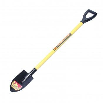 Лопата штыковая, острая, металлический черенок, с ручкой