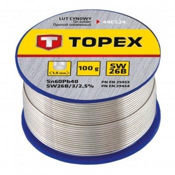 Припой оловянный topex 44e524, 60% олово, 40% свинец, проволока 1.5 мм, 10