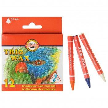 Мелки восковые koh-i-noor 8272/12, 12 цветов, трёхгранные, d=8.2мм