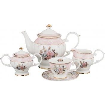 Чайный сервиз на 6 персон пудровый шлейф 15 пр.1400/250/300/250 мл.(кор=4н