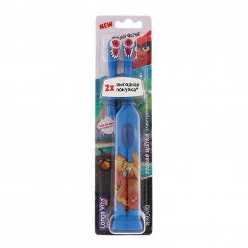 Зубная щетка longa vita angry birds kab-1, вибрационная, с насадкой, от 3-
