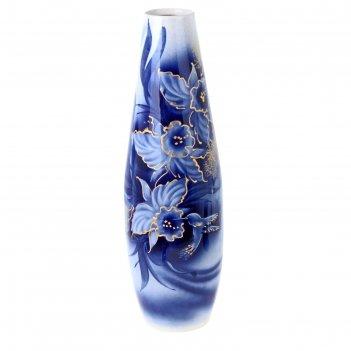 Ваза напольная форма катюша роспись, кобальт