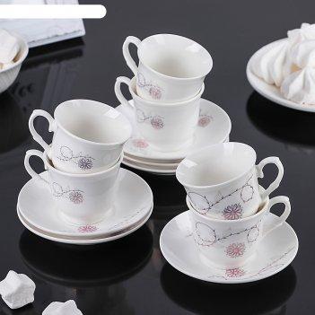 Сервиз кофейный золотая ромашка, 12 предметов: 6 чашек 80 мл, 6 блюдец 12