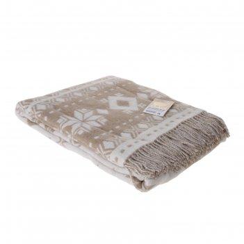 Плед шерстянной снежинка 140х200 см, бел/беж, 100% новозеландская шерсть