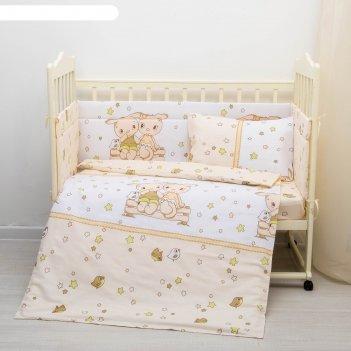 Комплект в кроватку 4 пр. друзья, цвет бежевый, бязь, хл100%