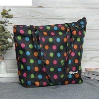 7926 дизайн сумка пляжная bagamas, 34*11*29, отд на молнии, черный/горох