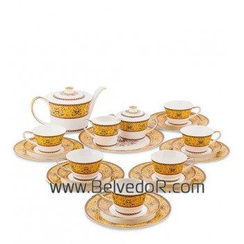 Jk-179 чайный сервиз на 6 перс. арабески (arabesca yellow pa