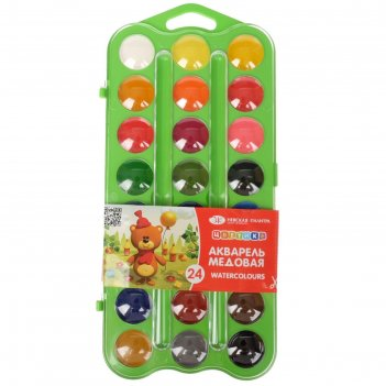 Акварель зхк «цветик», 24 цвета, медовая, в пластиковой коробке, без кисти