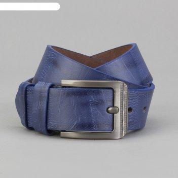 Ремень мужской, винт, пряжка - металл, ширина - 4, 2см, синий